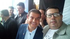 Careca, candidato a deputado estadual, junto do presidente do PTB MS e candidato ao senado Nelsinho Trad