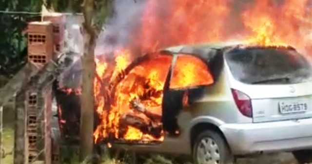 Vídeo: Homem é traído, coloca fogo no carro e se mata carbonizado