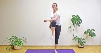 Encoste um joelho no cotovelo oposto, alternando entre os lados. Encontre seu próprio ritmo. Tente repetir esse gesto de 1 a 2 minutos, descansar por 30 a 60 segundos. Faça isso até 5 vezes. Você deve sentir o coração bater mais rápido e ficar ofegante.