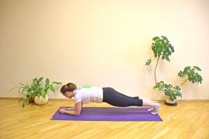 Apoie os antebraços no chão, com os cotovelos na altura do ombro. Mantenha o quadril na altura da cabeça Mantenha-se firme nessa posição por 20 a 30 segundos (ou mais, se conseguir), descanse por 30 a 60 segundos, e repita até 5 vezes. Essa atividade fortalece seu abdômen e pernas